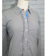 Tommy Hilfiger Ruffle Blouse White/Gray Chambray Vertical Stripes Cotton... - $14.84