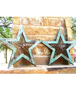 TWO Western Wall Stars Wood with Cast Iron 0359 0360 bz - $139.98