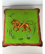 """Vintage Needlepoint Leo Pillow Lion Astrological Sign 16"""" Square Cross S... - $98.99"""