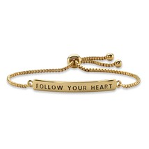 "Follow Your Heart 14k Gold-Plated Plaque Drawstring Slider Bracelet 10"" - $22.39"
