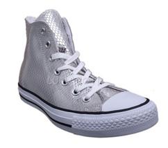 Womens Converse Chuck Taylor All Star Silver/Black/White Hi-Top Sneaker ... - $47.99