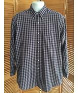 Ralph Lauren Big Shirt Navy Plaid Long Sleeve Button-Down Dress Shirt sz... - $14.95