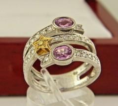 18k Oro Bianco Zaffiro Rosa e Diamante Rolling Misura Anello 6.75 - $1,263.24
