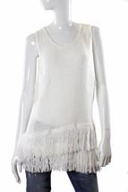 Bar III Asymmetrical Fringed Hem Sleeveless Sweater M White NWT - $40.43 CAD