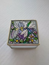 Amia Studios Trinket Box Hand  Painted Glass Dragonfly Flower Mirror Bot... - $24.52