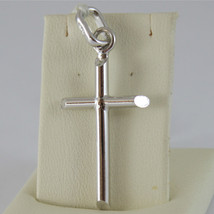 18K  WHITE GOLD CROSS, PENDANT, STYLIZED, TUBE, ROUNDED, MADE IN ITALY image 1