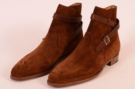 Handmade Brown jodhpurs Boots, Men Brown ankle Boots, Men Suede Leather Boot - $179.99