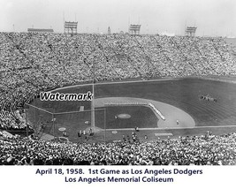 MLB 1958 Inaugural Game as Los Angeles Dodgers Memorial Coliseum 8 X 10 ... - $9.99