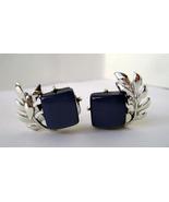 Vintage Coro navy Blue Lucite Silvertone leafs Clip Earrings  1950-60's - $12.00