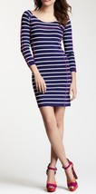 Jessica Simpson Dress Sz S Navy Blue White Striped 3/4 Sleeve Cocktail P... - $69.26