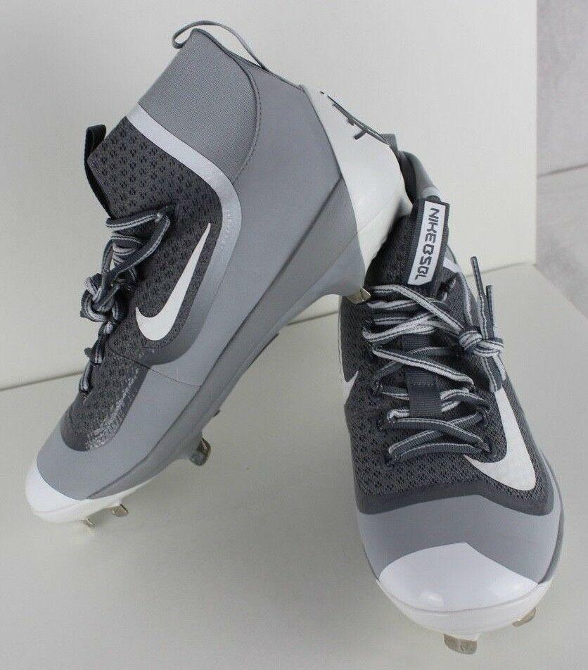 more photos a7252 70f0c Nike Bsbl Huarache Uomo Alte Baseball Tacchetti Grigio Bianco Taglia 8