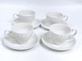 Vtg Johnson Brothers Ironstone Cup Saucer Set of 4 Regency White Swirl Crazing B - $19.59