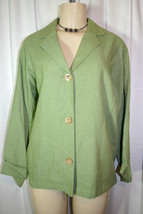 New COLDWATER CREEK Womens Sz M Green Linen Blend Casual Blazer Jacket - $22.17