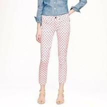 J Crew Cropped matchstick jeans Women sz 24 White Pink thistle print - $33.99