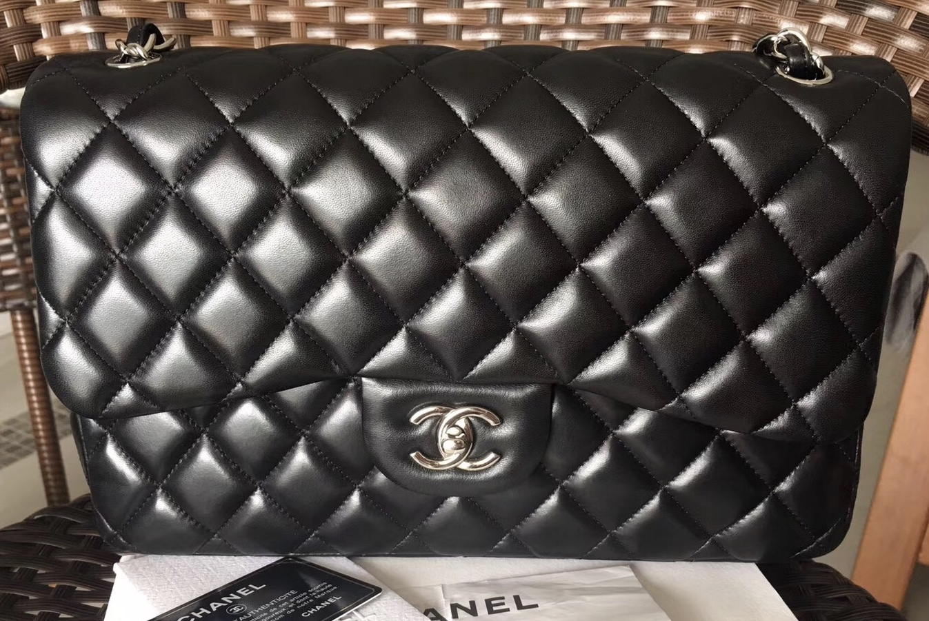 f2110ac453be86 100% Authentic Chanel Black Quilted Lambskin and 46 similar items