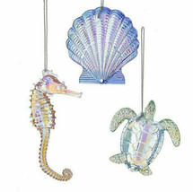 KURT ADLER 3/A IRIDESCENT ACRYLIC SEA LIFE XMAS ORNAMENTS SHELL/TURTLE/S... - $18.88