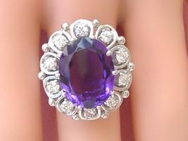 Vintage 7 Carat Oval Amethyst .80ctw Brilliant Diamond 18K Cocktail Ring 1960 - $3,206.61