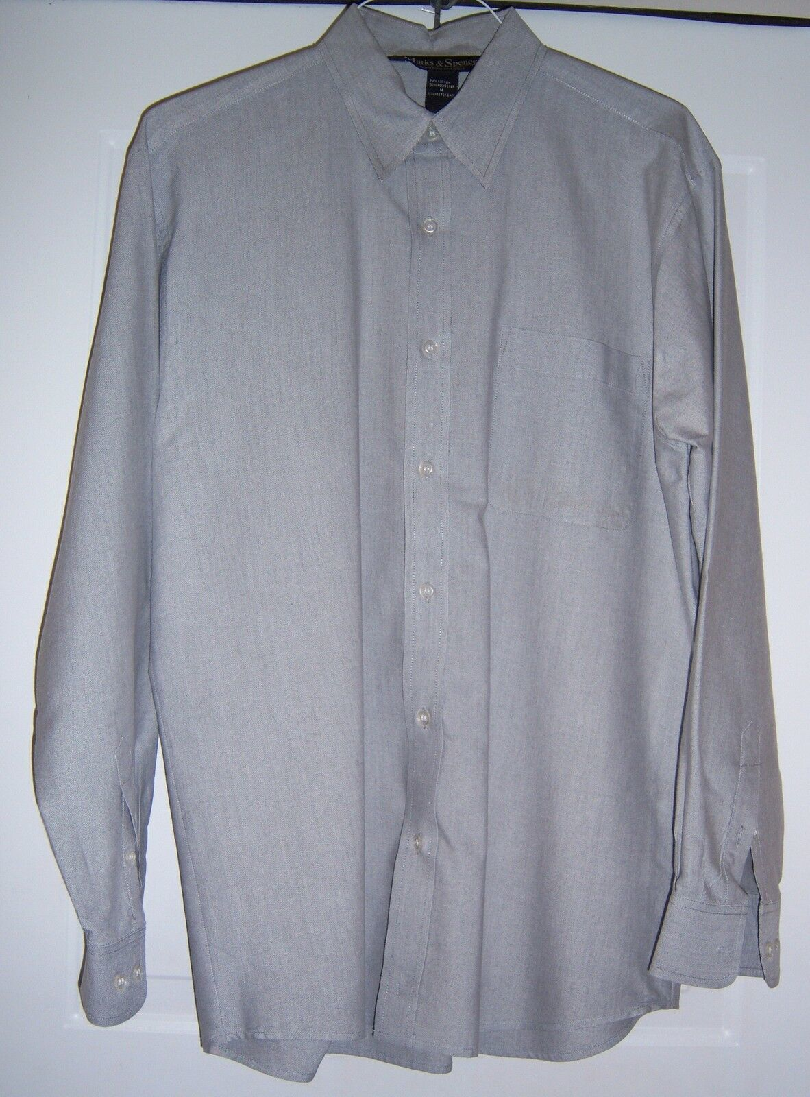 MARKS AND SPENCER Oxford Style Shirt Cotton blend L/S Gray Men's M image 5