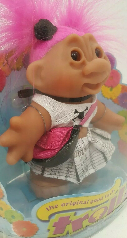 Original Good Luck Troll DAM Doll 2006 New NOS 63800 Pink Hair Skull Plaid Dress
