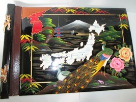 VINTAGE PRINCE LACQUER WOOD ASIAN PEACOCK JAPAN BLACK PAGE PHOTO ALBUM - $15.83