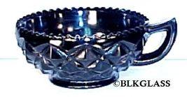 Imperial Glass Ebony Black Bowl, Heavy Block,  Diamond Block, Handle Nappy Bowl - $18.87