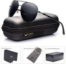 LUENX Aviator Sunglasses Mens Women Polarized Black Lens Black Metal Frame Dark - $42.94