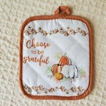 Kitchen Linens Set, 6pc, Choose to be Grateful, Pumpkins Orange Thanksgiving image 5