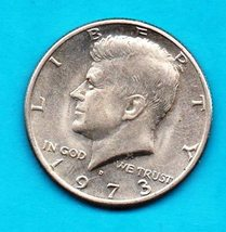 1973 D  Kennedy Halfdollar Circulated About AU55 - $4.00