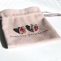 David Yurman Silver Stud Infinity Earrings with Carnelian 7x7 NEW Authentic - $137.94
