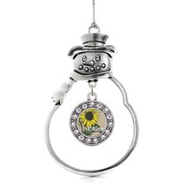 Inspired Silver Niece Sunflower Circle Snowman Holiday Christmas Tree Ornament W - $14.69