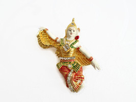 Thai Dancer Kinnaree Women Fly Wings Bird Literature Brooch Pin Souvenir - $8.00