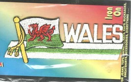 welsh flag with wording wales embroidered iron / sew on patch