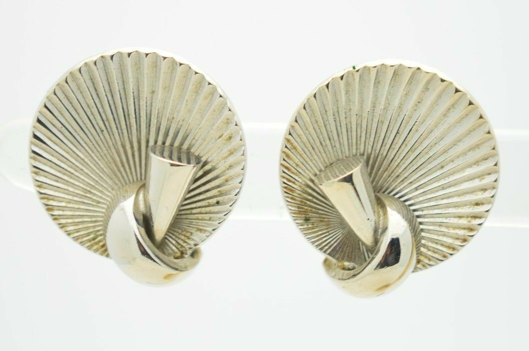 Vintage Silver Tone Alice Jewelry Company Modern Abstract Clip Earrings