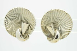 Vintage Silver Tone Alice Jewelry Company Modern Abstract Clip Earrings - $19.80