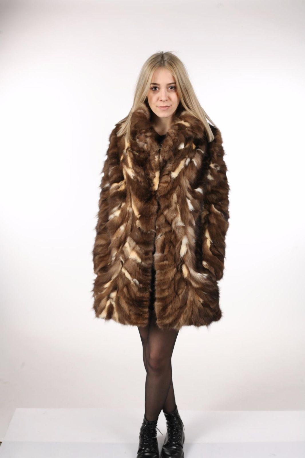 Brown Sable Fur Coat Sectional size Large US 12 EU 42  Genuine Sable 100% image 5
