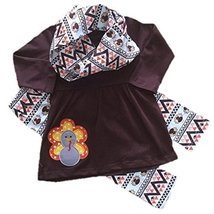 Cute Kids Clothing Toddler Girl/Girl's Thanksgiving Turkey Applique Scar... - $19.99