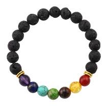 2017 Bracelet Men Black Lava Stone Energy Yoga Beaded Bracelet Bangle For Men Wo - $12.19