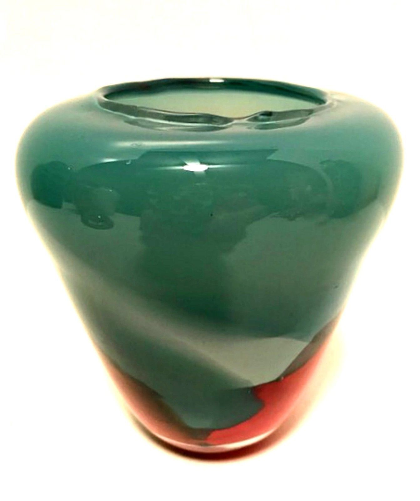 Art Glass Vase Dusty Blue w/ Red Purple Detail Hand Blown 4.75 inches Tall