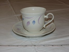 Mikasa Satin Ivory K7001 Andrea Japan Tea Cup & Saucer off white blue lav - $18.69