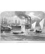 MISSISSIPPI RIVER at New Orleans Steamers cargo Boats - 1883 German Print - $21.60