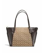 NEW COACH F54797 Brown Leather Khaki Jacquard Signature Ava ii Tote Larg... - $149.99