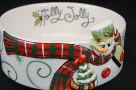 Fitz And Floyd Holly Hat Snowman 29-812 Sentiment Bowl 2013 Ceramic Ador... - $14.03