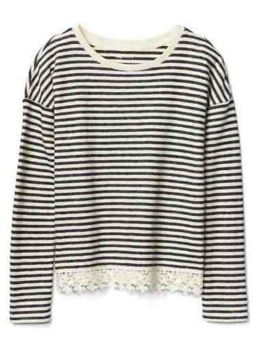 Gap Kids Girls Top 6 7 Navy Blue Striped French Terry Long Sleeve Lace Trim New