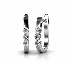 Earrings for women by Frenelle |18k white gold plated huggie earings|Swa... - $24.01