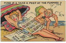 1952 Linen Curt Teich Comic Postcard- C-829 sunbathing lady - $9.99