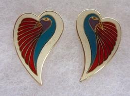 Vintage Laurel Burch Dove Heart Bird Enamel Pierced Earrings - $34.30