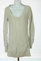 Donna Karan New York DKNY Jeans Long Sweater Cream Sz Small Kangaroo Pocket - $15.13