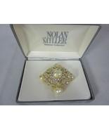Nolan Miller Grand Faux Pearl Pin Brooch Crystals - $80.18