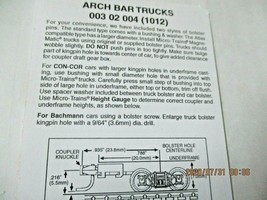 Micro-Trains Stock # 00302004 (1012) Arch Bar Trucks Long Extension N-Scale image 2