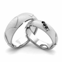 14K White Gold Plated Silver 925 Black Sim Diamond Wedding Couple Ring Set  - $99.99